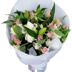 Fresh Pink Lilies and White Roses from Flower Biz Christchurch City