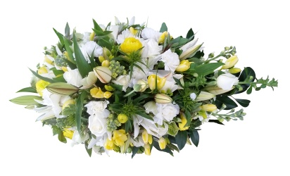 White and Gold Casket Spray from Flower Biz Christchurch